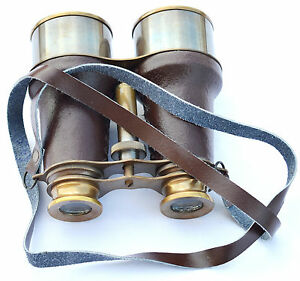 Brass Antique Nautical Binocular Vintage Maritime Binocular With Leather Wrapped