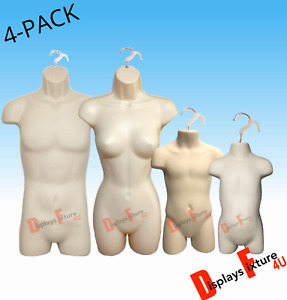 4 pack Male Female Child Toddler Mannequin Form Body Dress Display Shirt Flesh