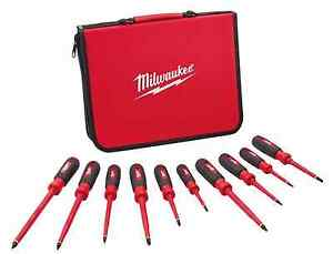 Milwaukee Insulated Slotted Phillips Screwdriver 10 piece Tools Electrician Set