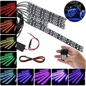 New 12pc Motorcycle Car Rgb Led Waterproof Under Glow Lights Strip Kit remote Vi
