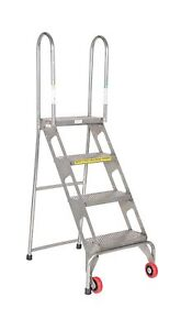 Vestil Flad 4 ss Folding 4 Steps Ladder With Wheels Stainless Stee 2day Ship