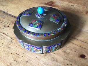 Brass And Enamel Chinese Covered Candy Dish Early 20th Century