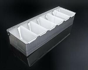 Condiment Dispenser 6 Compartments Chilled Server Caddy Food Tray Salad Bar New