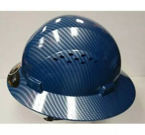 Hdpe Hydro Dipped Blue Full Brim Hard Hat With Fas trac Suspension Cool Air Fl