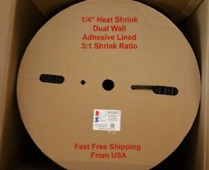 1 4 Black 3 1 Adhesive Lined Dual Wall Heat Shrink Tubing Roll 328 Foot Spool