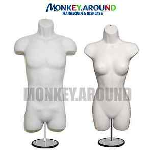 Set 2 Male Female Mannequin Form Hanger stand body Display Shirt Dress white