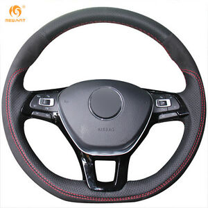 Leather Steering Wheel Cover For Vw Golf 7 Mk7 New Polo Jetta Passat B8 Dz76