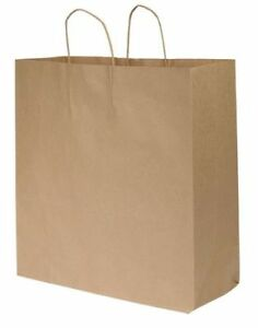 Shopping Bag Flat Bottom Cargo Brown Paper Twist Handles Pk200