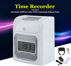 Employee Attendance Time Clock Payroll Recorder W Ribbon Cartridge Keys 50cards
