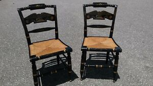 Pair Of Vintage Ethan Allen American Eagle Back Hitchcock Chairs