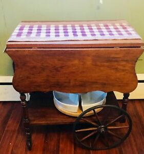 Antique Wooden Tea Cart With Drop Leaf Table