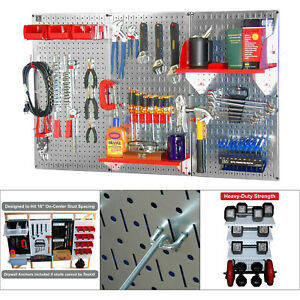 Metal Pegboard Kit Tool Garage Accessories Organizer Wall Shelf Storage galv red