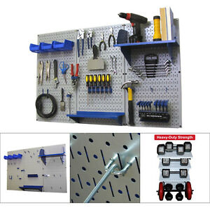 Metal Pegboard Tool Garage Accessories Organizer Wall Shelf Storage Gray blue