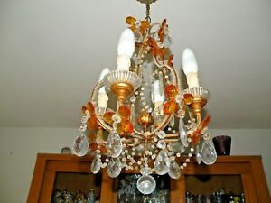 Vintage Opaline Murano Magnificent Chandelier With Crystal Pendants
