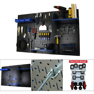 Metal Pegboard Tool Garage Accessories Organizer Wall Shelf Storage Black blue