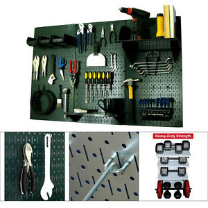 Metal Pegboard Kit Tool Garage Accessories Organizer Wall Shelf Storage green bk