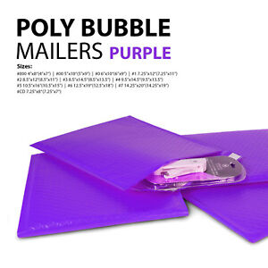 All Sizes Purple Poly Bubble Mailers 000 00 0 cd 1 2 3 4 5 6 7 Padded