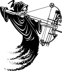 Grim Reaper Bow Hunting Decal Sticker Car Truck Window Bumper Laptop Wall