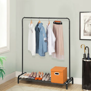 All metal Commercial Grade With Top Rod And Lower Storage Shelf Garment Rack Us