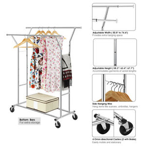 Double Rail Rolling Garment Rack With 4caster 2low Bars Adjustable Length Chrome