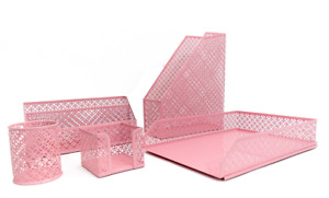 Pink Desk Organizer Stylish File Letter Sticky Note Pen Chic Office 5 Set New