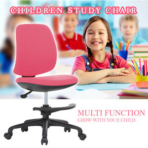 Home Children Pink Study Chair Adjustable Height Padded Seat Back Swivel Casters