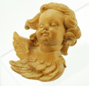 Antique Hand Carved Wood Angel Cherub Putti Wall Hanging