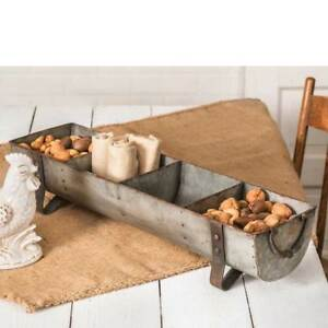 Rustic Primitive Farmhouse Vintage Divided 4 Compartment Chicken Feeder Tray