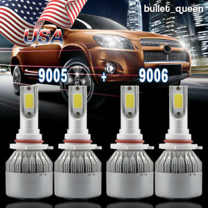 Combo 9005 9006 Led Headlight Bulb Kit For Chevy Silverado1500 2500 Hd 2001 2006