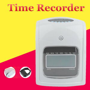 Electronic Employee Time Attendance Lcd Clock Recorder Bundy Timecards W Cards