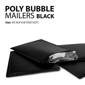 Poly Bubble Mailer 5 10 5 x16 10 5 x15 Padded Mailing Bags Envelopes Black