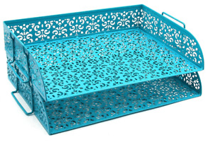 Blue Paper Tray Damask Desk Organizer Letter File Sorter Stylish Office Teal New