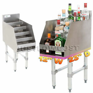 Commercial Nsf Five tiered Stainless Steel Liquor Display Rack Bottles Bartender