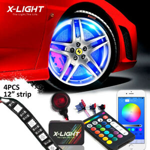 4pc Led Car Wheel Fender Glow Light Kit 12 Rgb Flash Neon Strips Bluetooth Cont