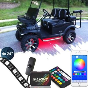 Golf Cart Led Body Glow Neon Lights 4 Strips Kit For Ezgo Club Car Yamaha Rgb