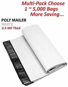 1 250 500 1000 24x24 White Poly Mailers Shipping Envelopes Self Sealing Bags