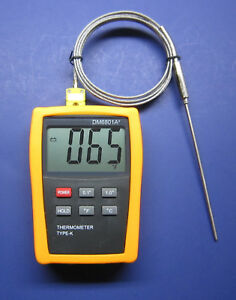 Digital K type Thermometer High Temperature Pointed Stainless Steel Probe 68ht1