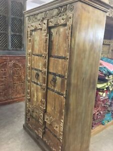 Antique Wardrobe Old Doors Indian Furniture Iron Storage Cabinet Home Decor