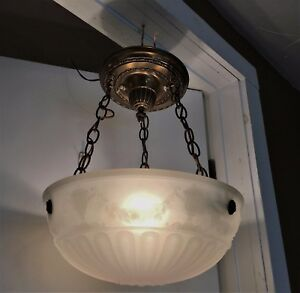 Antique Camphor Chandelier Inverted Dome Light Fixtures Vtg Bowl Opaline 1900s