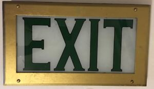 Vintage Theater Reverse On Glass Exit Sign Light Brass Framed