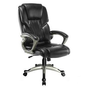 Black Executive Ergonomic High Back Pu Leather Armchair Footrest Office Chair