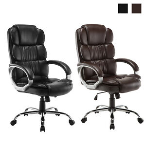 Boss Style Executive Office Computer Chair Adjustable High Back Pu Black brown