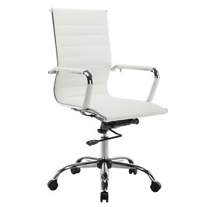 Pu Leather White Ergonomic High Back Executive Computer Office Chair Modern