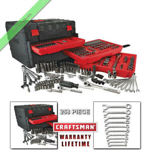 258 Pc Craftsman Mechanics Tool Set Sockets Ratchets Wrenches Sae Metri
