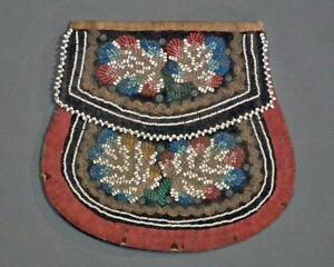 Antique Native American Iroquois Indian Beaded Larger Pouch Bag