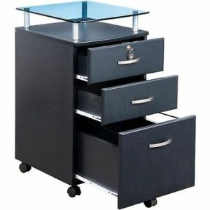 Rolling File Cabinet Office Furniture Home Wood Lock Transitional Room 3 Drawer