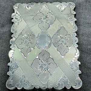 Antique Victorian Frederick Marson Sterling Silver Card Case Birmingham Uk