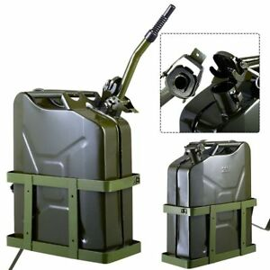 5 Gallon 20l Gas Jerry Can Fuel Steel Tank Military Green W Holder