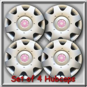 1998 2010 16 Vw Volkswagen Beetle Pink Daisy Flower Hub Caps Wheel Covers