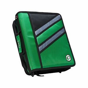 Case it Z binder Two in one 1 5 inch D ring Zipper Binders Green Z 176 gre
